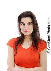 Young brunette woman smiling, portrait