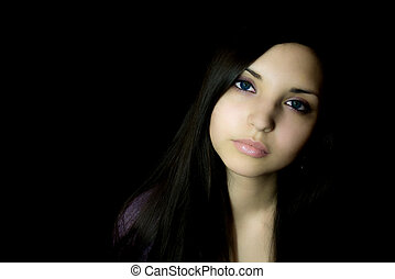 young brunette woman With sad eyes