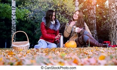 Young brunette women sitting on picnic bundled up in a blanket drinking hot tea from thermos in autumn park. Girls rug near the pumpkin of Halloween theme. 3840x2160