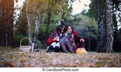 Young brunette women sitting on picnic bundled up in a blanket drinking hot tea in autumn park. Girls on a fallen leaves near the pumpkin of Halloween theme. 1920x1080