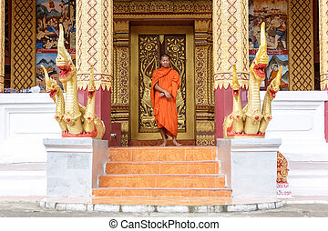 Young Buddhist Monk Standing In Front Of Monastery