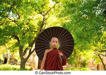 Buddhist monk - Young Buddhist monk walking outdoors under...