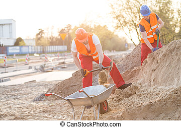 Young builders working