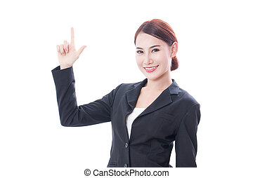 business asian woman pointing up