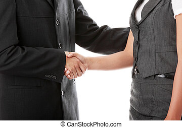 Young business couple handshaking