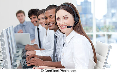 Young business group with headset on - Young business people...
