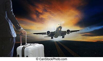 young business man and luggage suitcase standing with passenger