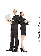 young business man and woman holding laptop
