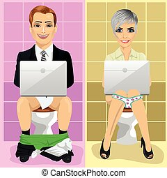 Young business man and woman using laptops on toilet