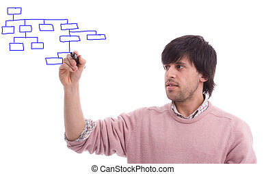Young business man drawing dataflow