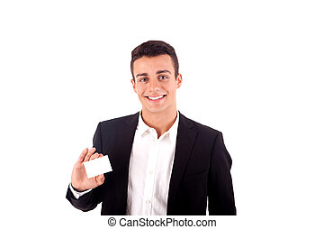 Young business man handing a blank business card over white background