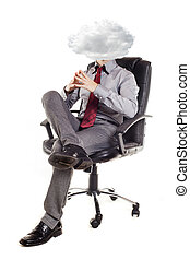 young business man , head in the clouds