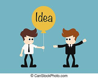 young business man hold lightbulb balloon concept of get idea