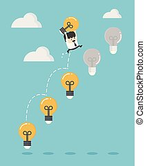 Young business man holding a dollar jump light bulb the to succeed.
