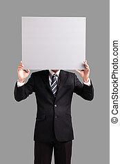 business man holding blank billboard