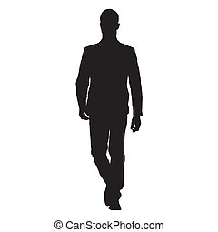 Young business man in suit goes forward, front view, isolated vector silhouette