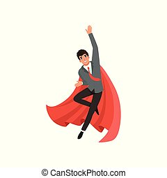 Young business man in suit, red tie and superhero cloak. Cartoon guy in flying action. Career advancement. Successful office worker with happy face. Flat vector design