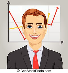 Young business man on a gray background with rising arrow, representing business growth