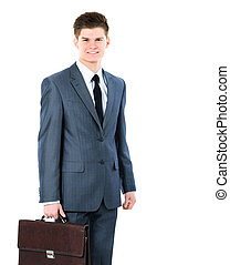 young business man on a white background smiling with briefcase