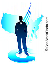 Young business man on US map background