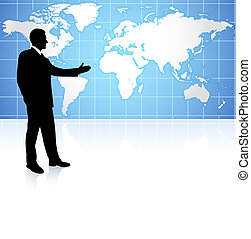 Young business man pointing on world map background