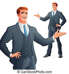 Young business man presenting. Isolated vector illustration.