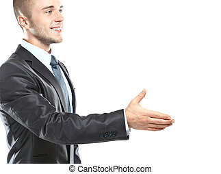 Young business man ready to set a deal over white background