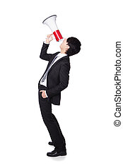 business man shouting into a megaphone