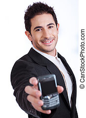 Young business man showing mobile phone