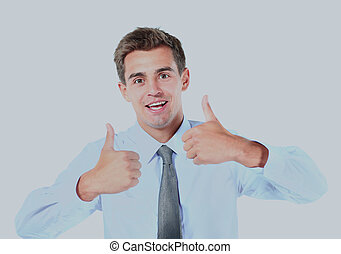young business man showing thumbs up sign over white background.