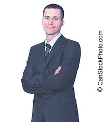young business man standing with his hands crossed on white background