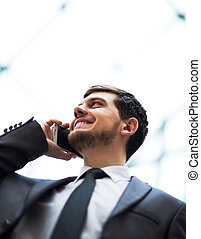 business man talking on cell phone