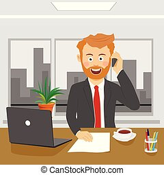 Young business man talking on the phone sitting in office with laptop
