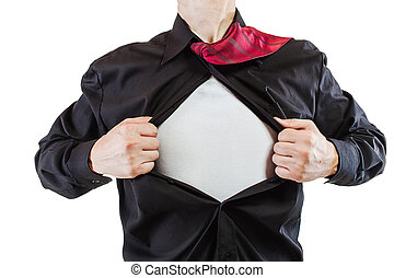 Young business man tearing apart his shirt revealing a ...