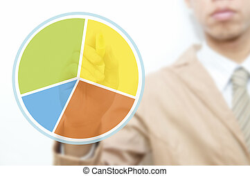 Young business man use hand drawing pie graph