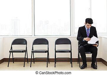 young business man waiting for job interview