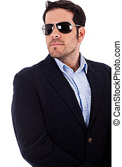 Young business man wearing sunglasses