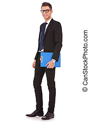 young business man with a blue clipboard