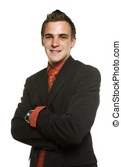 Young business man with crossed arms smiling