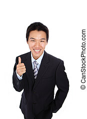Young Business Man with like or good hand gesture