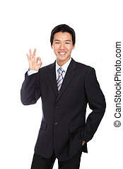 Young Business Man with OK hand gesture