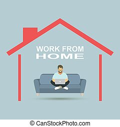 Young business man working with laptop on sofa. Vector illustration.