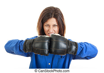 young business or casual woman in boxing concept