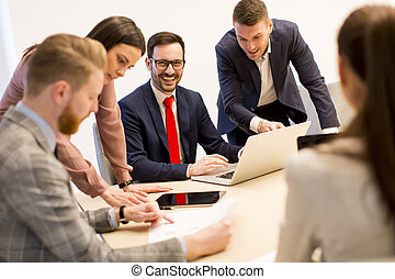 Young business people have meeting in a modern office