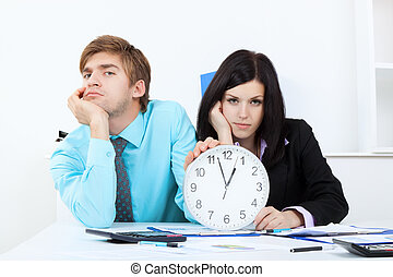 young business people in office at the desk