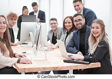 young business people work in a modern office