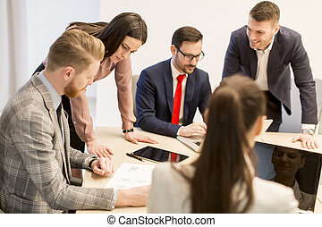 Young business people work in a team in a modern office