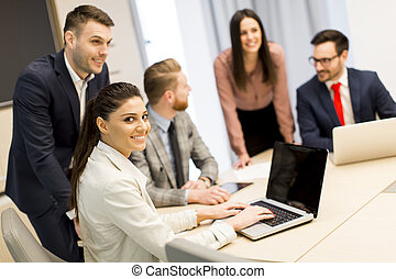 Young business people working in the modern office