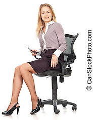 Young business secretary woman in chair