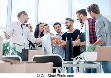 young business team celebrates their startup